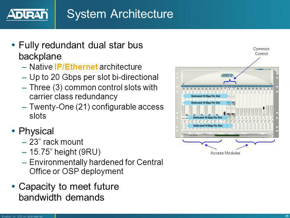 System Architecture Fully redundant dual star bus backplane Physical