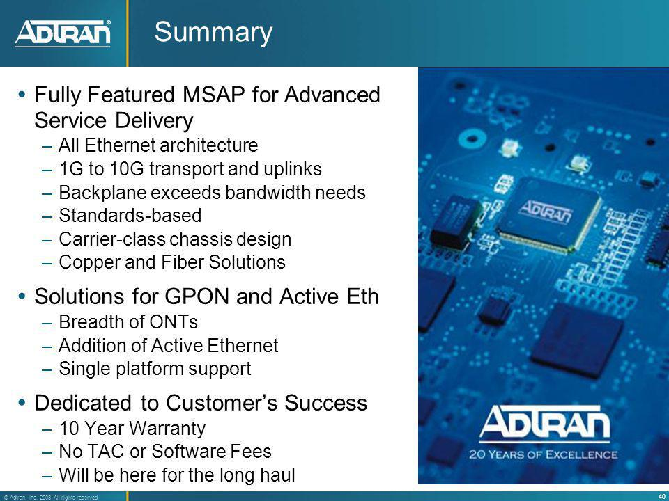 Summary Fully Featured MSAP for Advanced Service Delivery