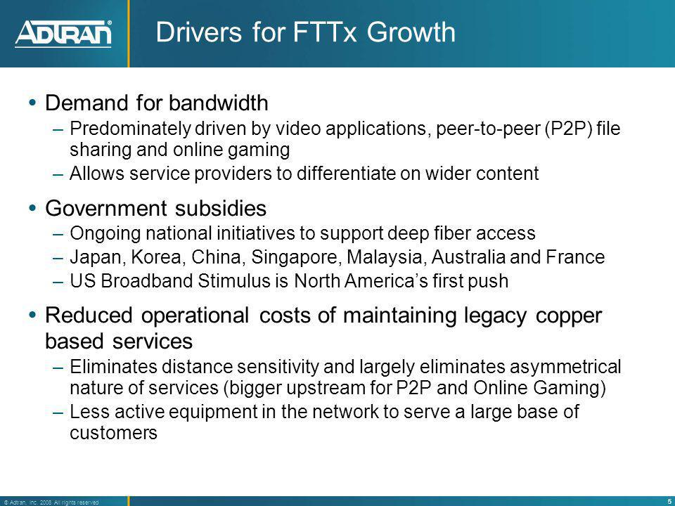 Drivers for FTTx Growth