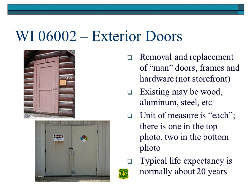 WI 06002 – Exterior Doors Removal and replacement of man doors, frames and hardware (not storefront)
