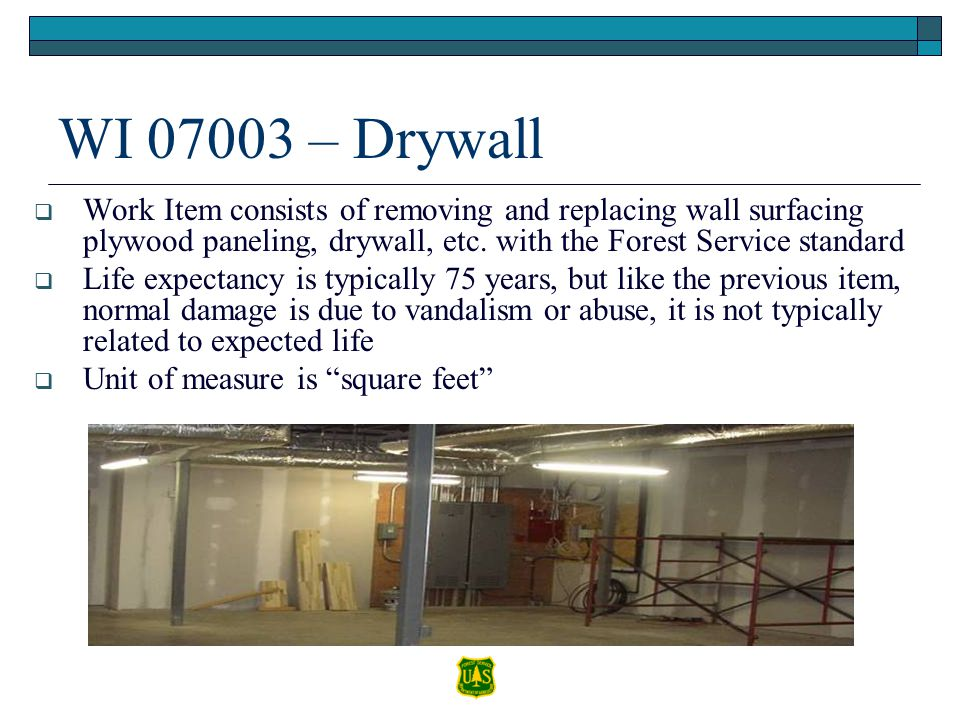 WI 07003 – Drywall Work Item consists of removing and replacing wall surfacing plywood paneling, drywall, etc. with the Forest Service standard.