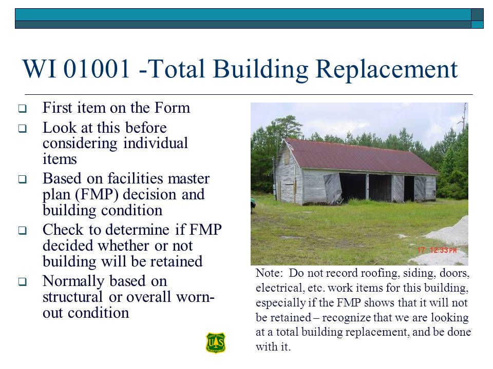 WI 01001 -Total Building Replacement