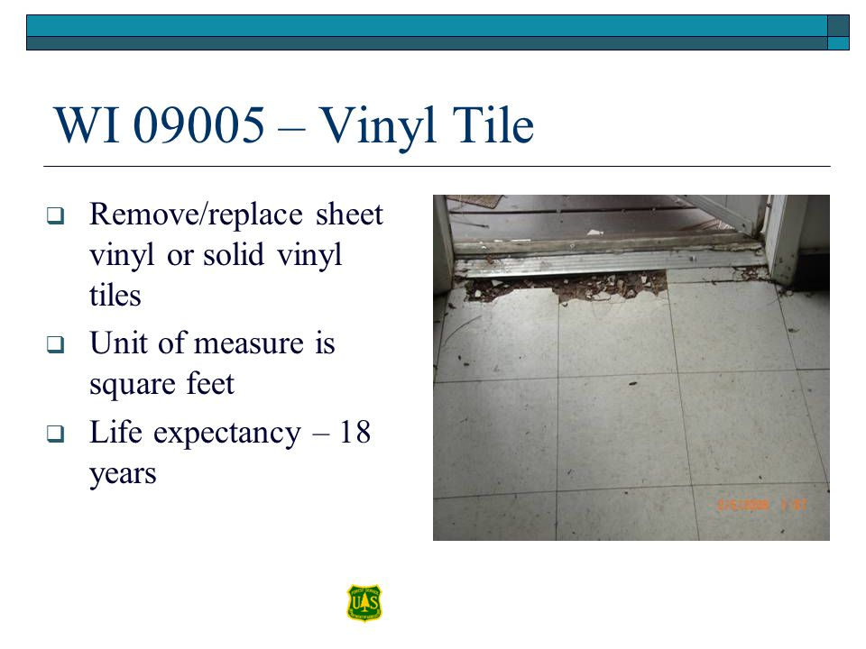 WI 09005 – Vinyl Tile Remove/replace sheet vinyl or solid vinyl tiles