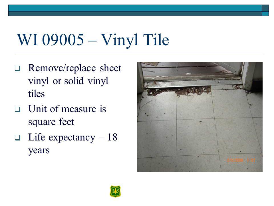 WI 09005 – Vinyl Tile Remove/replace sheet vinyl or solid vinyl tiles