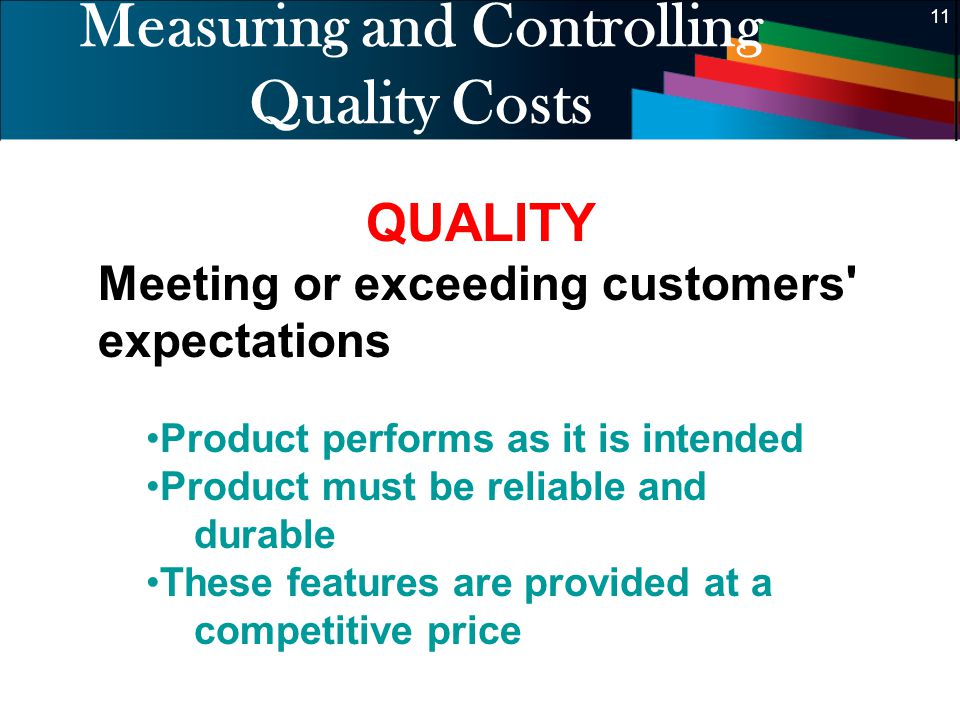 Measuring and Controlling Quality Costs