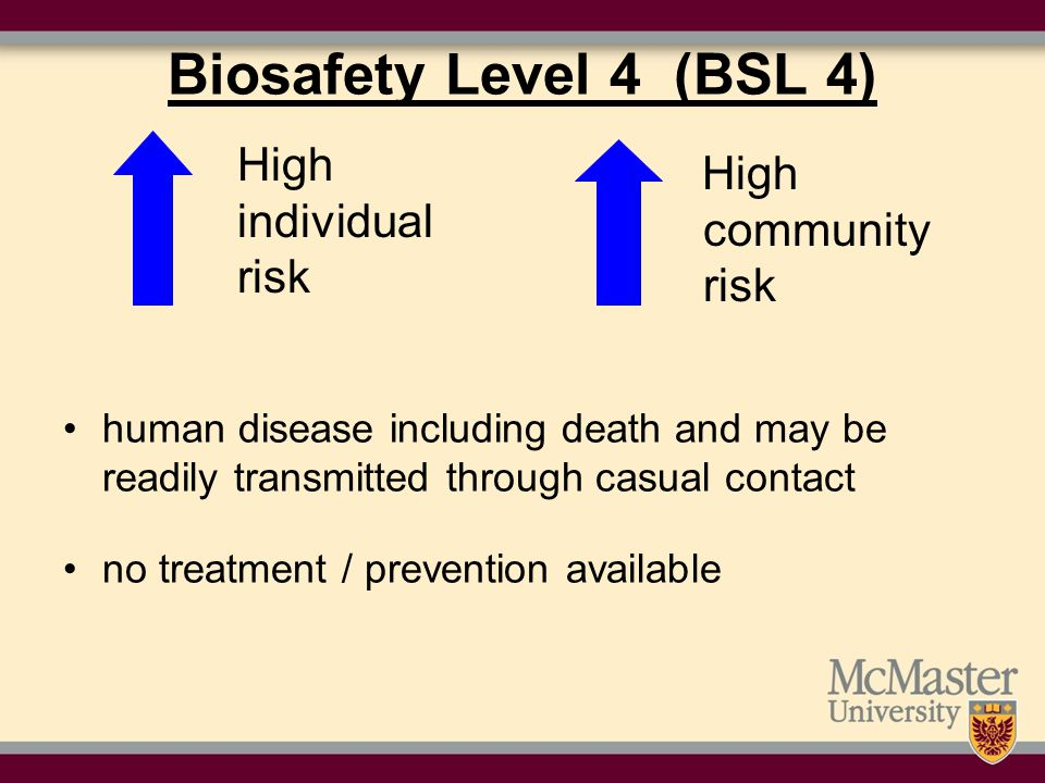 Biosafety Level 4 (BSL 4) High individual risk High community risk