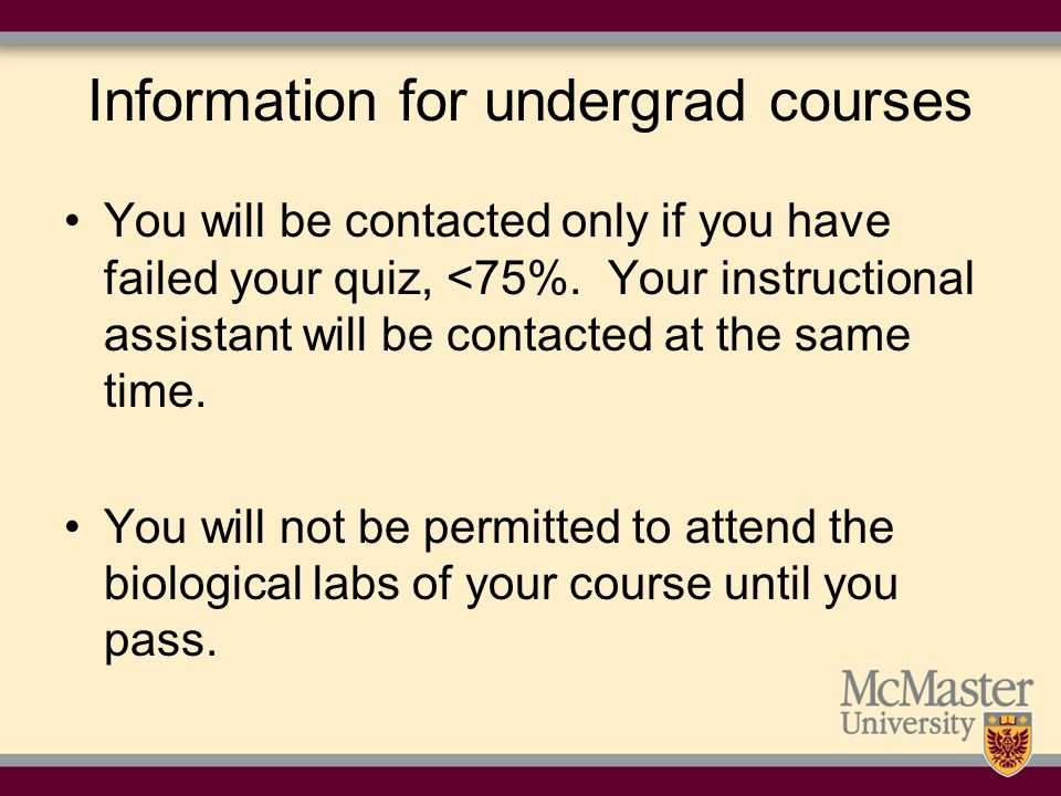 Information for undergrad courses
