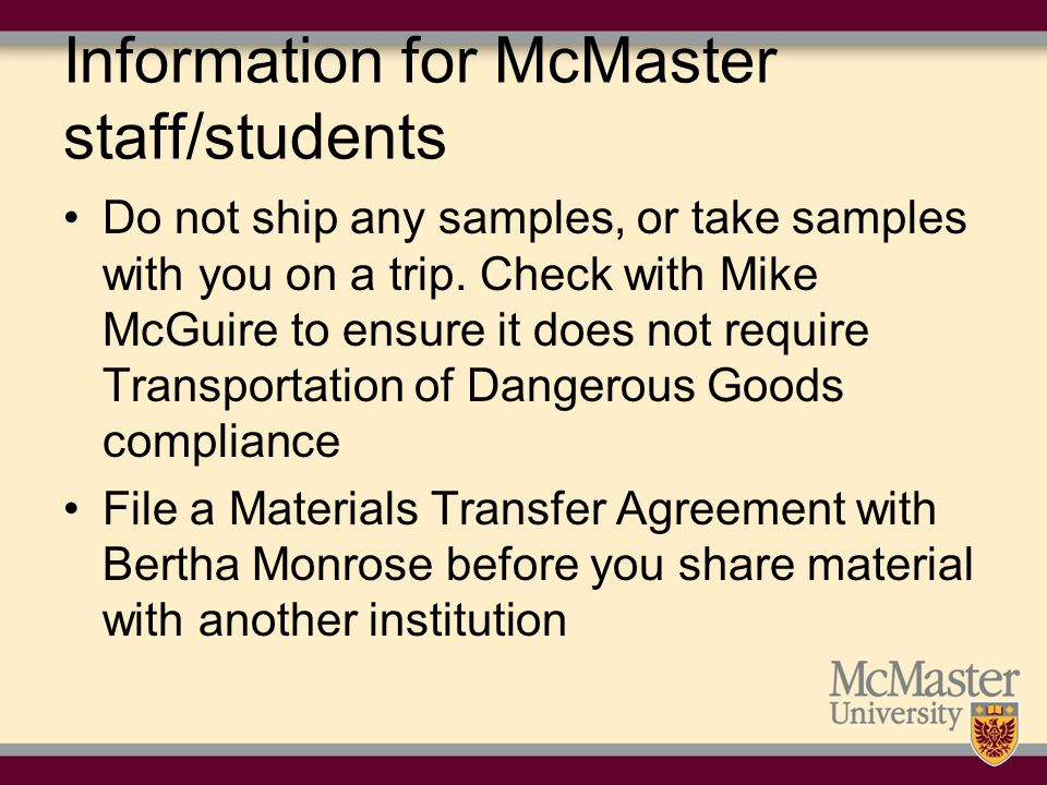 Information for McMaster staff/students