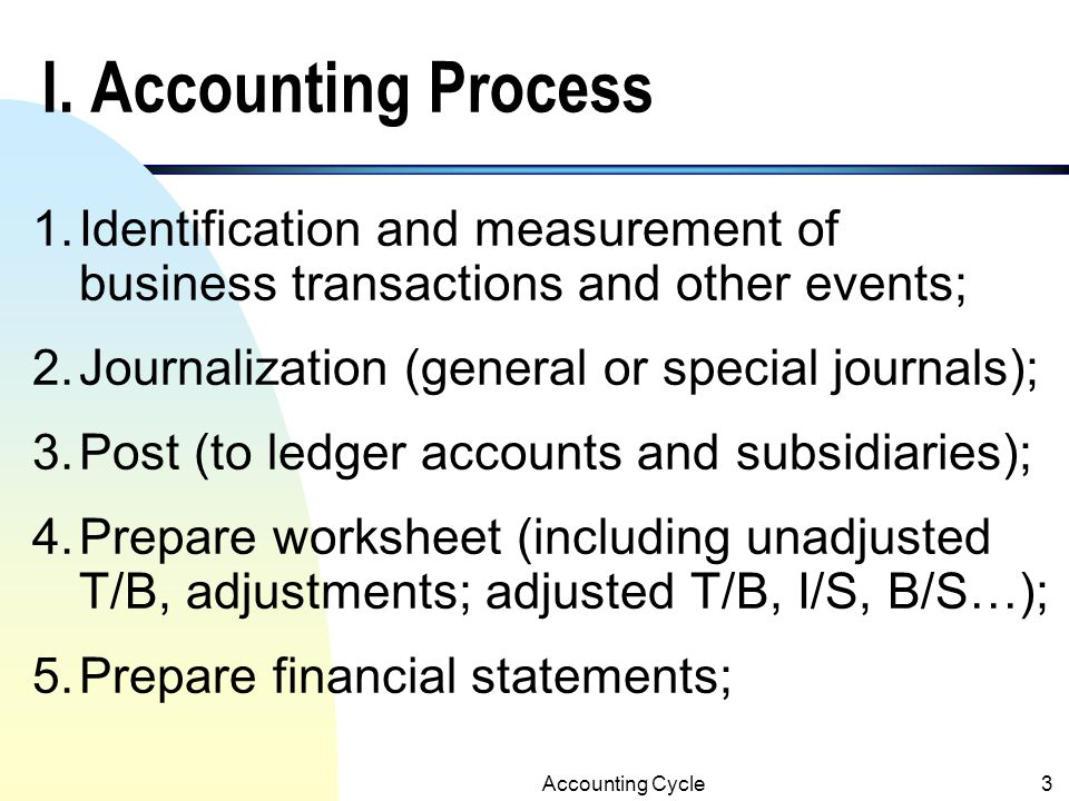I. Accounting Process 1. Identification and measurement of business transactions and other events; 2. Journalization (general or special journals);