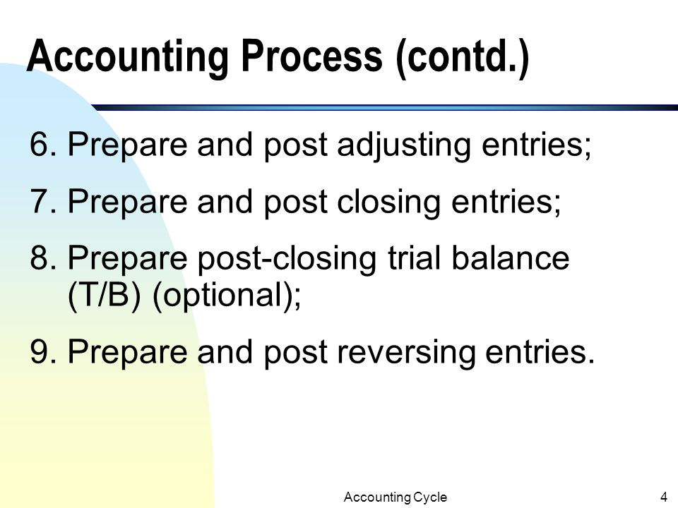 Accounting Process (contd.)