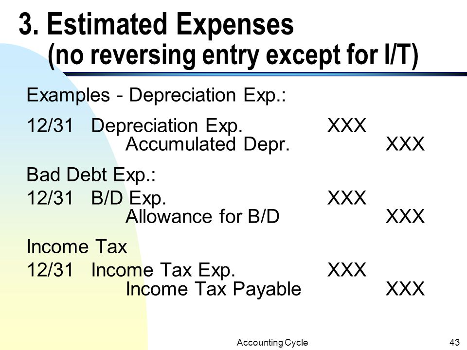 3. Estimated Expenses (no reversing entry except for I/T)
