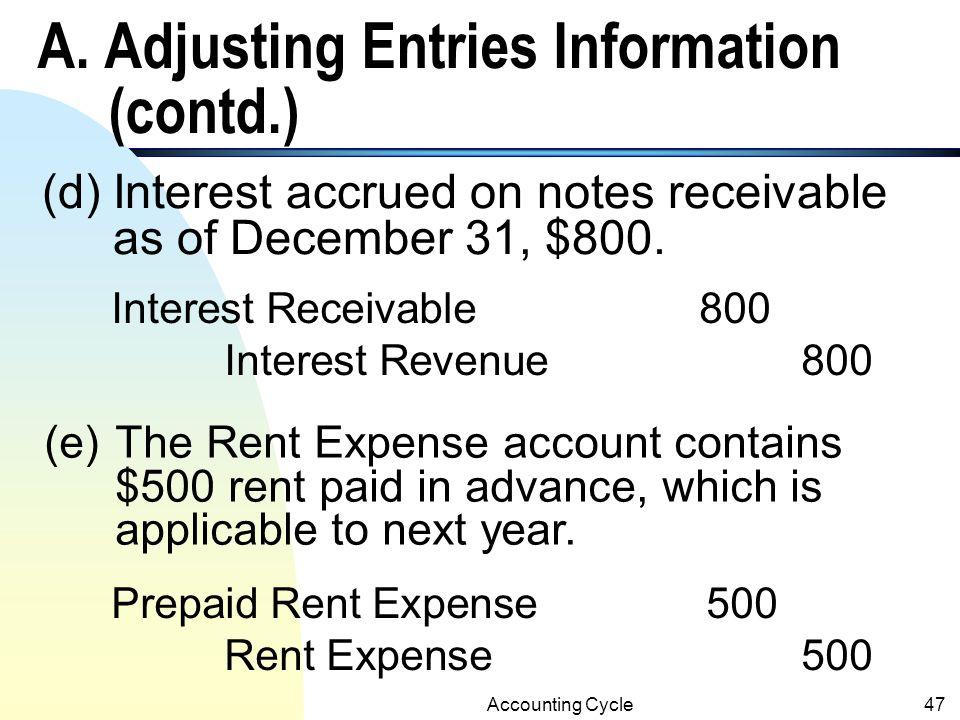 A. Adjusting Entries Information (contd.)
