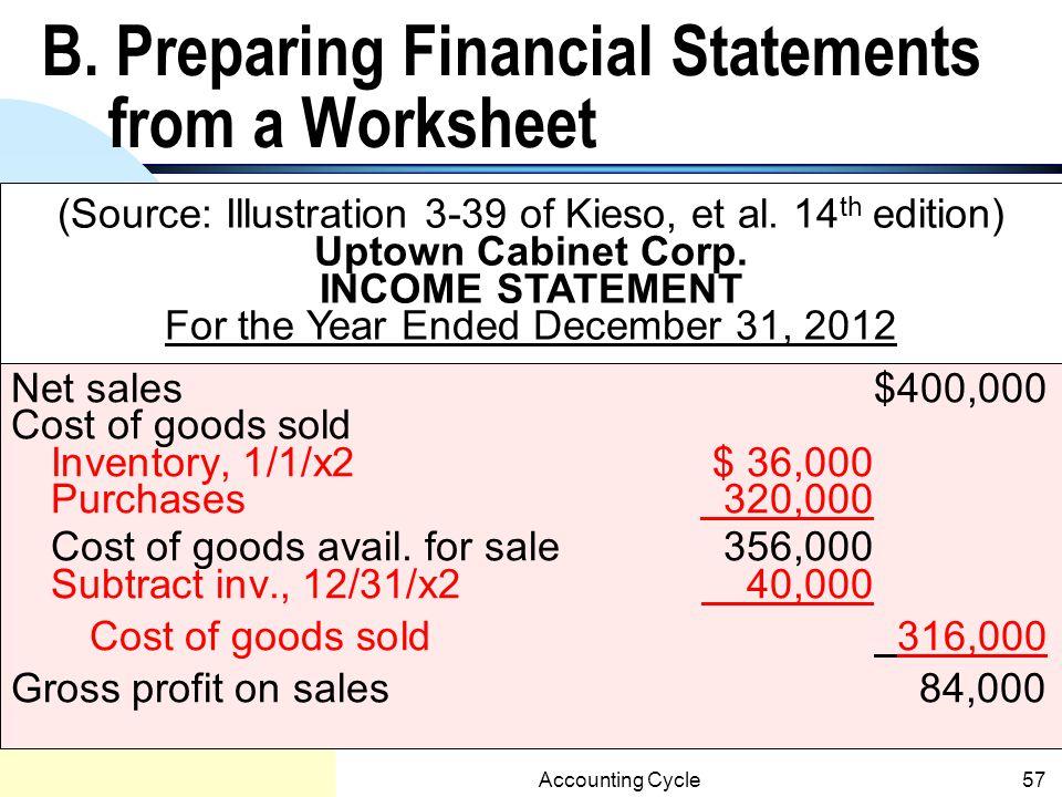 B. Preparing Financial Statements from a Worksheet