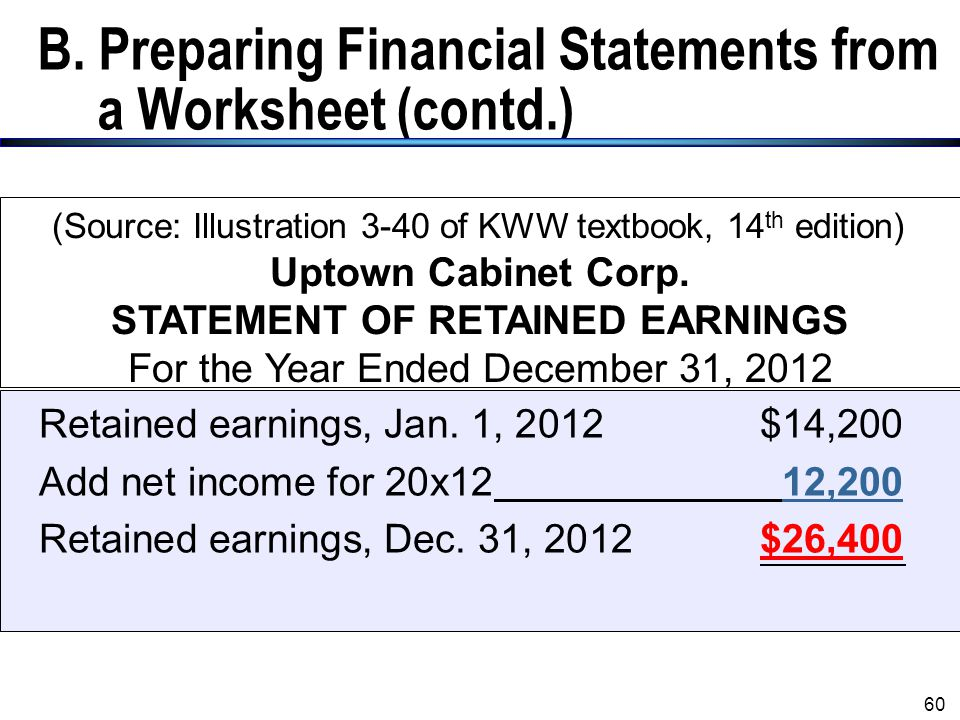 B. Preparing Financial Statements from a Worksheet (contd.)