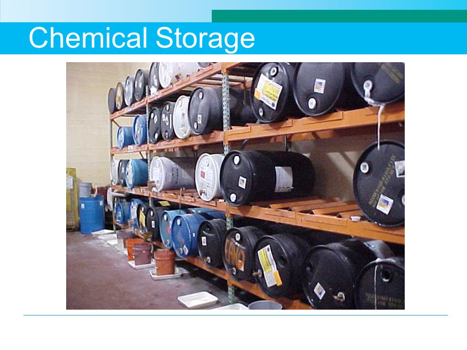 Chemical Storage Storage of drums of chemicals on a rack system.