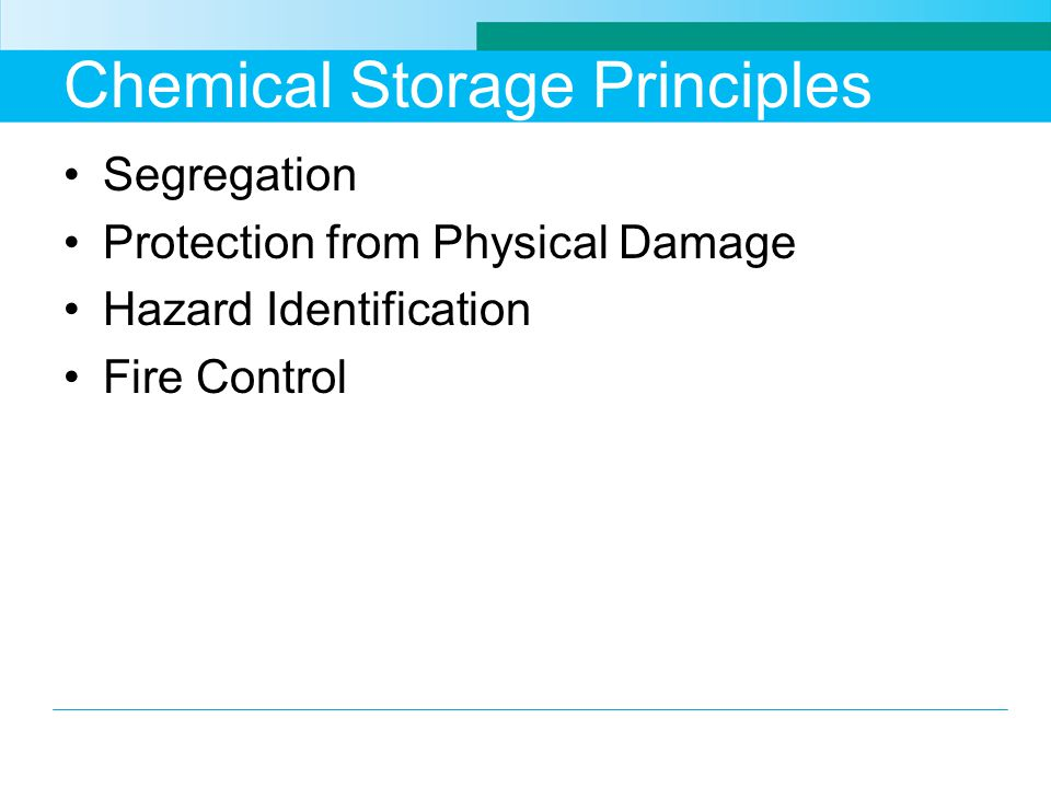 Chemical Storage Principles