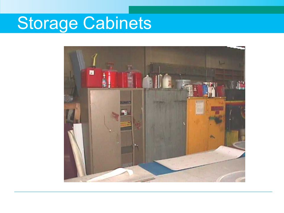 Storage Cabinets In this case the cabinets are not being used or the space for storage is inadequate.