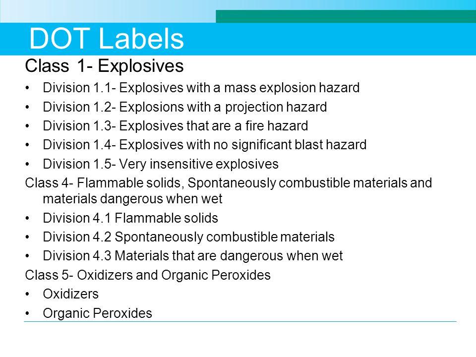 DOT Labels Class 1- Explosives