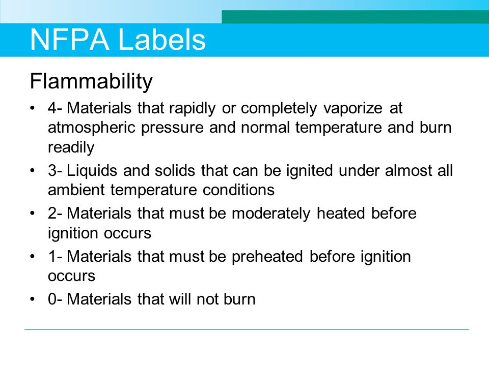 NFPA Labels Flammability