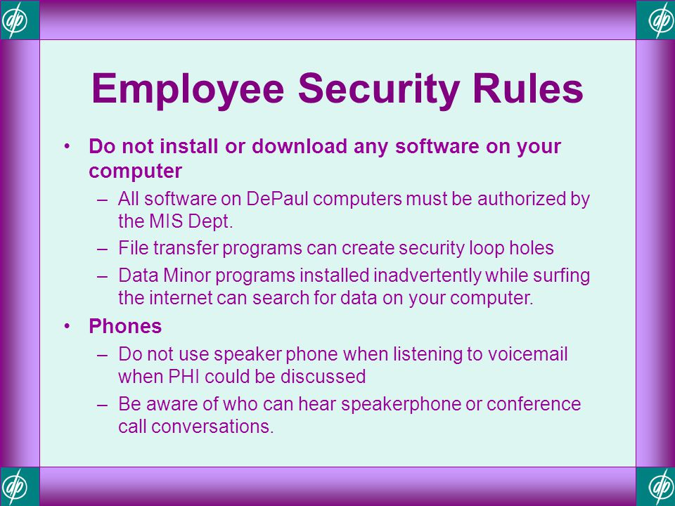 Employee Security Rules