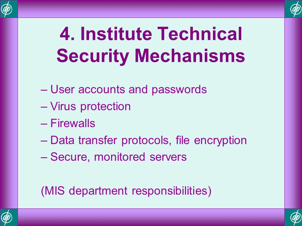 4. Institute Technical Security Mechanisms