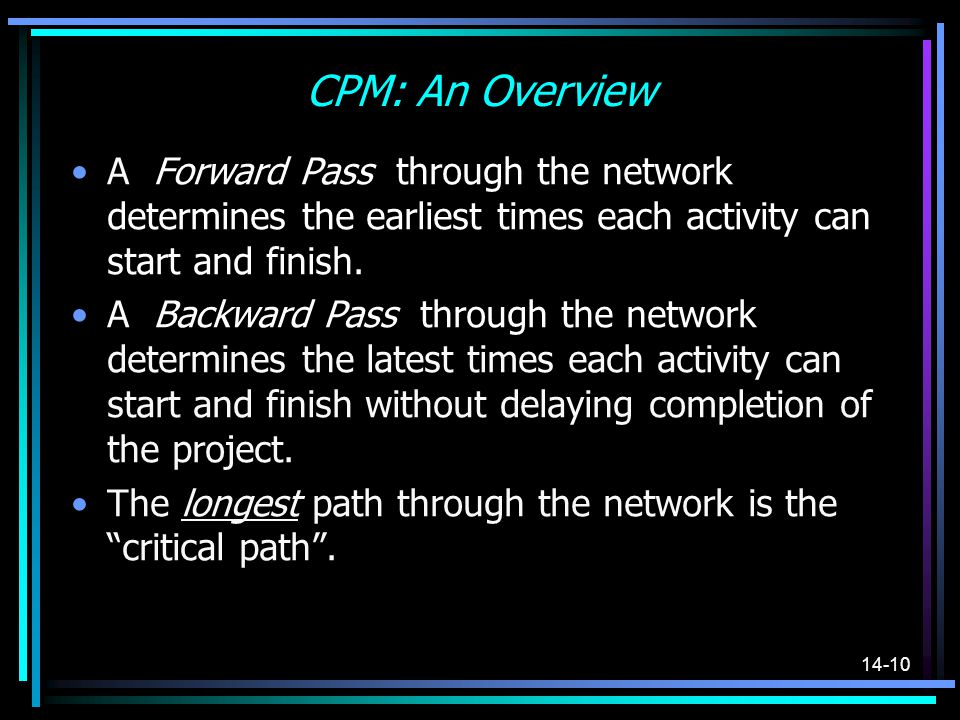 CPM: An Overview A Forward Pass through the network determines the earliest times each activity can start and finish.