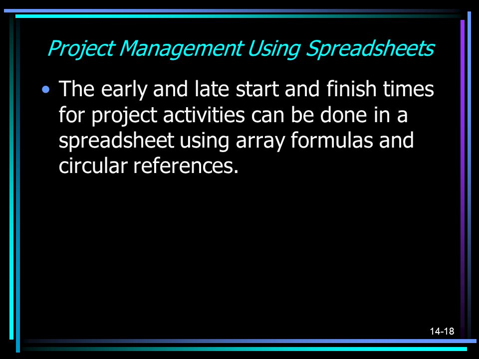 Project Management Using Spreadsheets