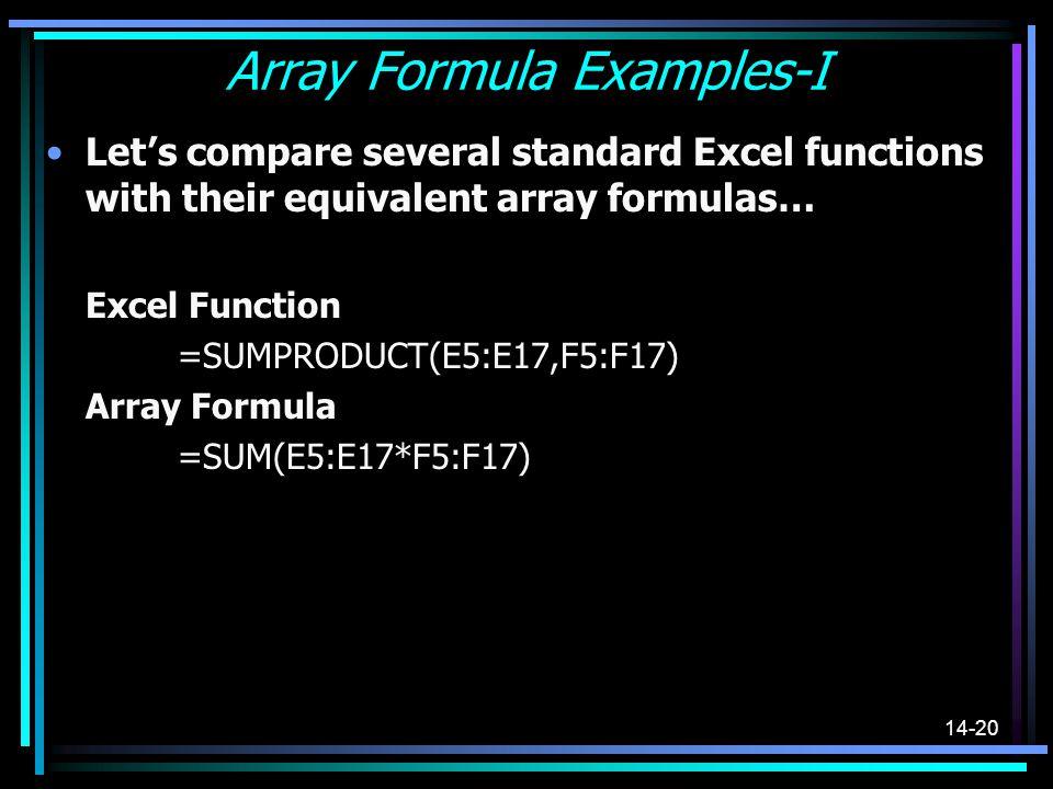 Array Formula Examples-I