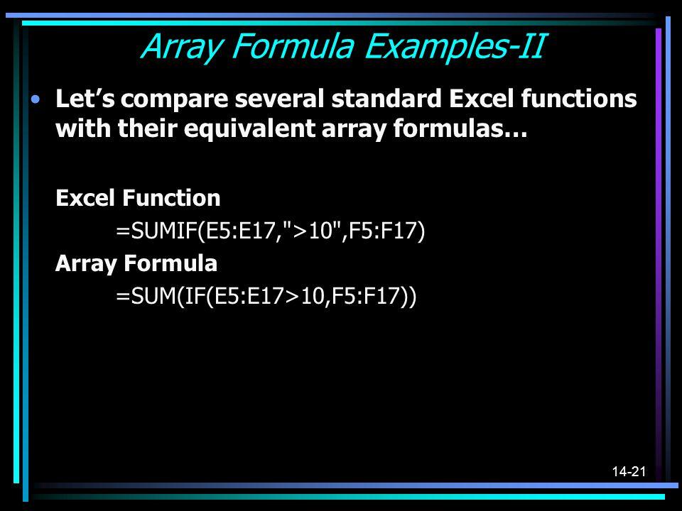 Array Formula Examples-II