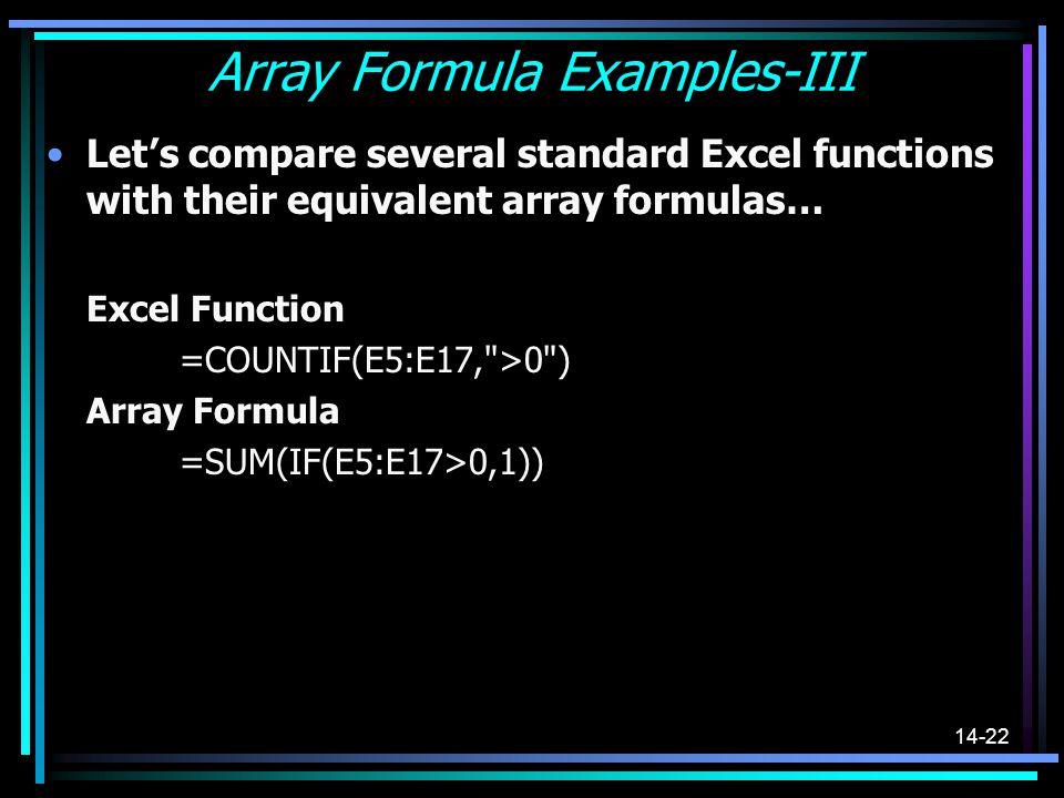 Array Formula Examples-III