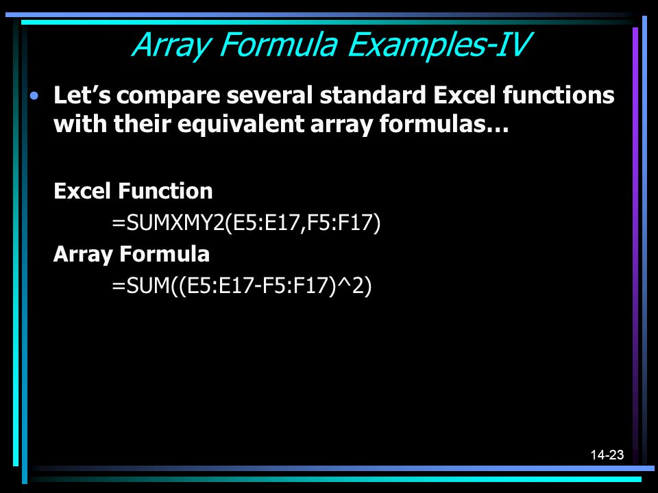 Array Formula Examples-IV