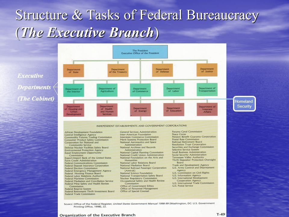 Structure & Tasks of Federal Bureaucracy (The Executive Branch)