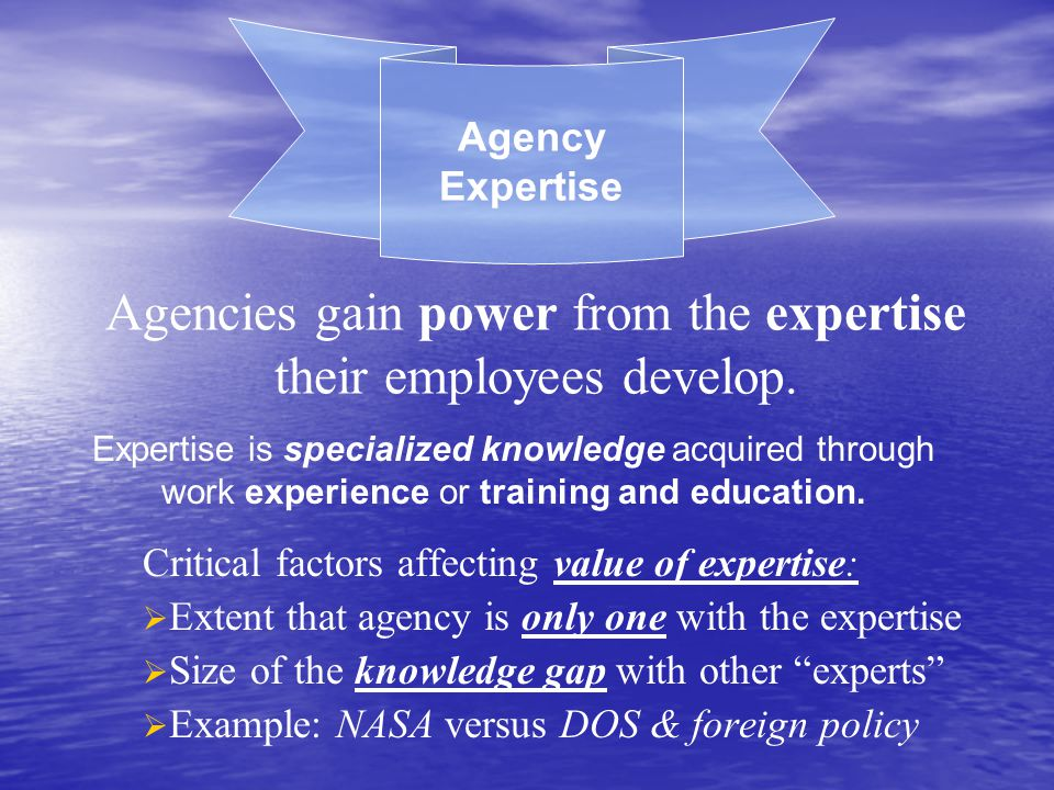 Agencies gain power from the expertise their employees develop.