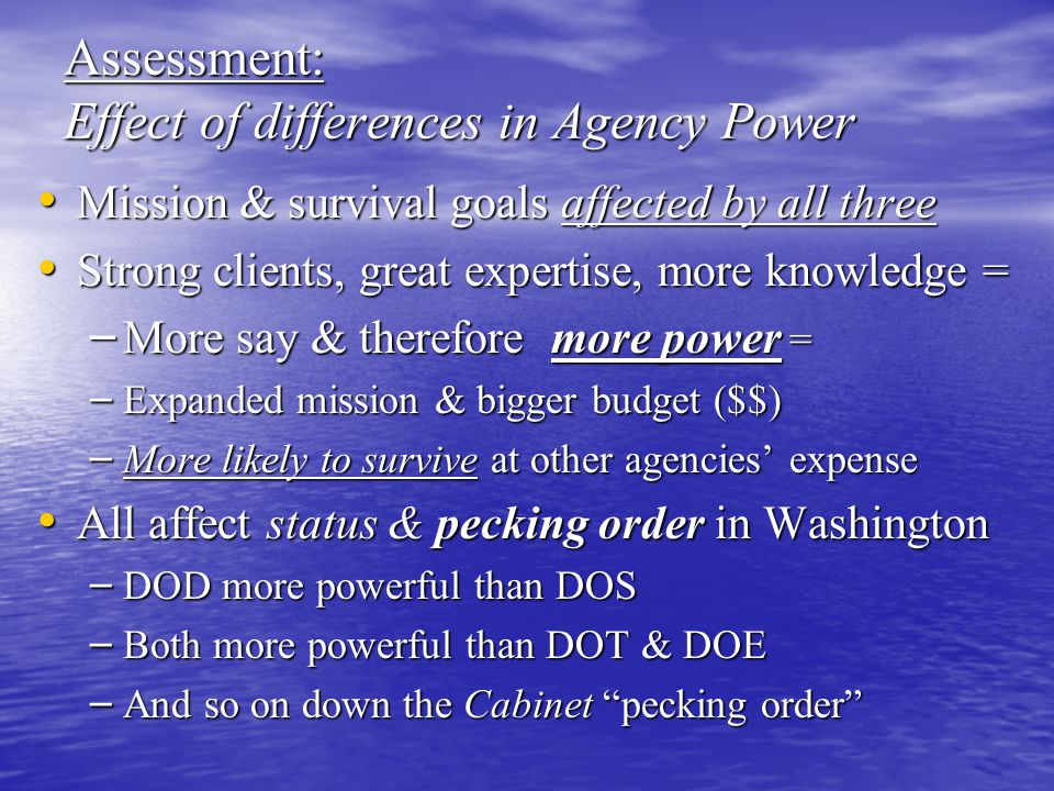 Assessment: Effect of differences in Agency Power