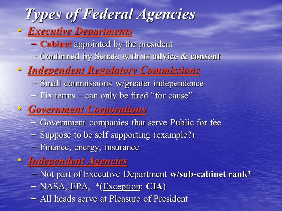 Types of Federal Agencies