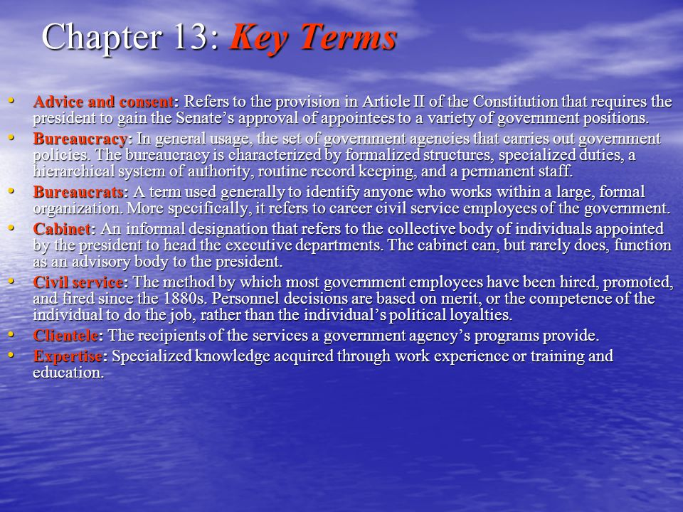 Chapter 13: Key Terms