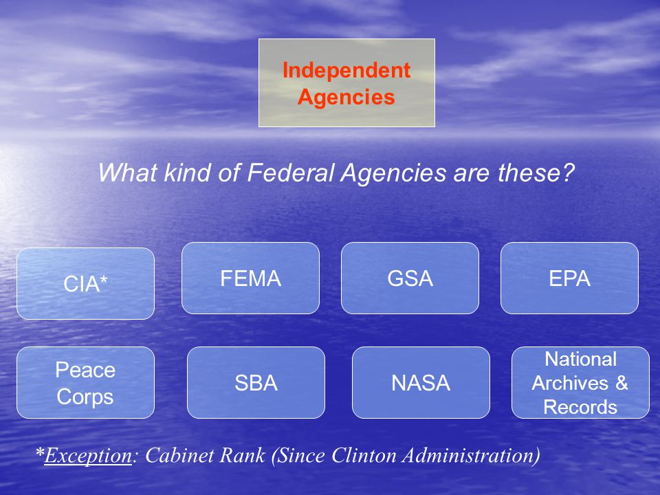 What kind of Federal Agencies are these