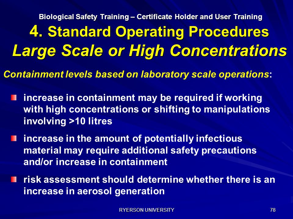 Containment levels based on laboratory scale operations: