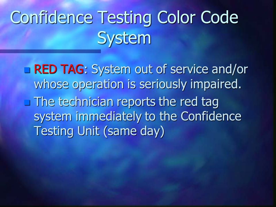 Confidence Testing Color Code System