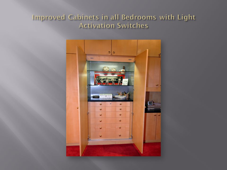Improved Cabinets in all Bedrooms with Light Activation Switches