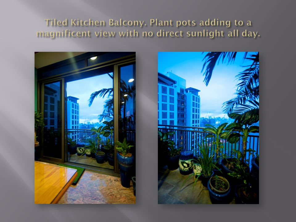 Tiled Kitchen Balcony. Plant pots adding to a magnificent view with no direct sunlight all day.