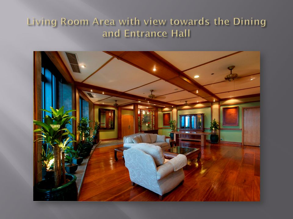 Living Room Area with view towards the Dining and Entrance Hall