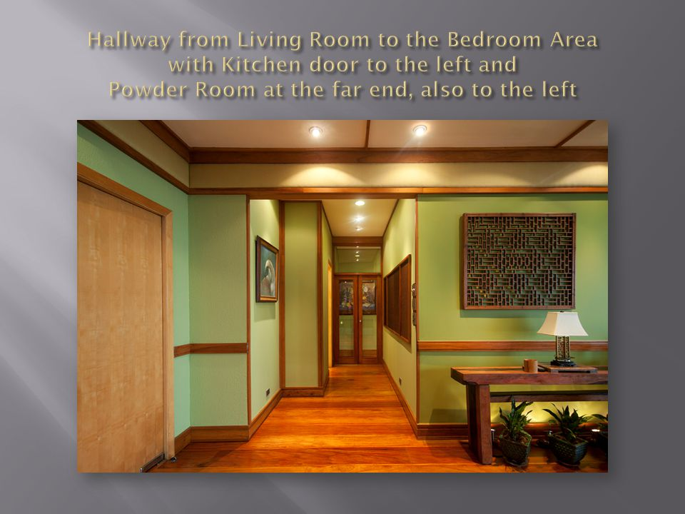 Hallway from Living Room to the Bedroom Area with Kitchen door to the left and Powder Room at the far end, also to the left