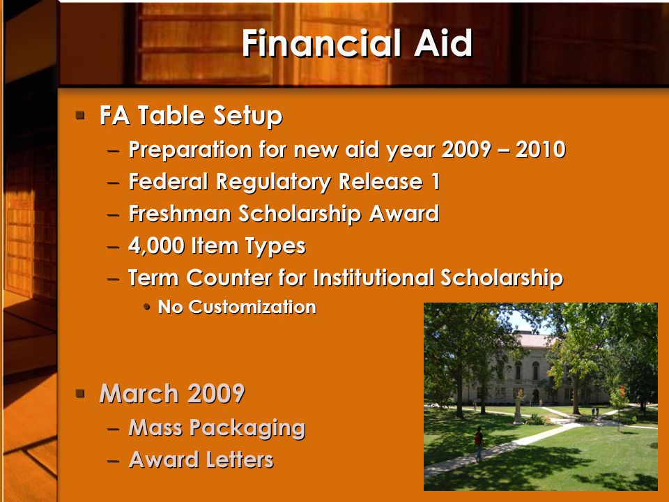 Financial Aid FA Table Setup March 2009