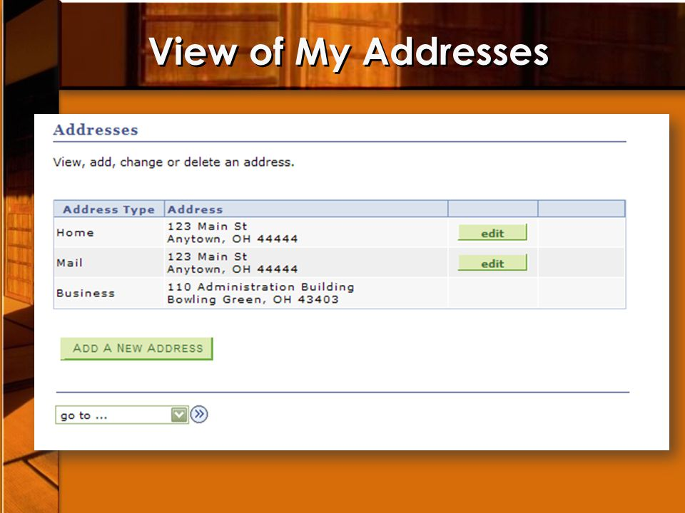 View of My Addresses