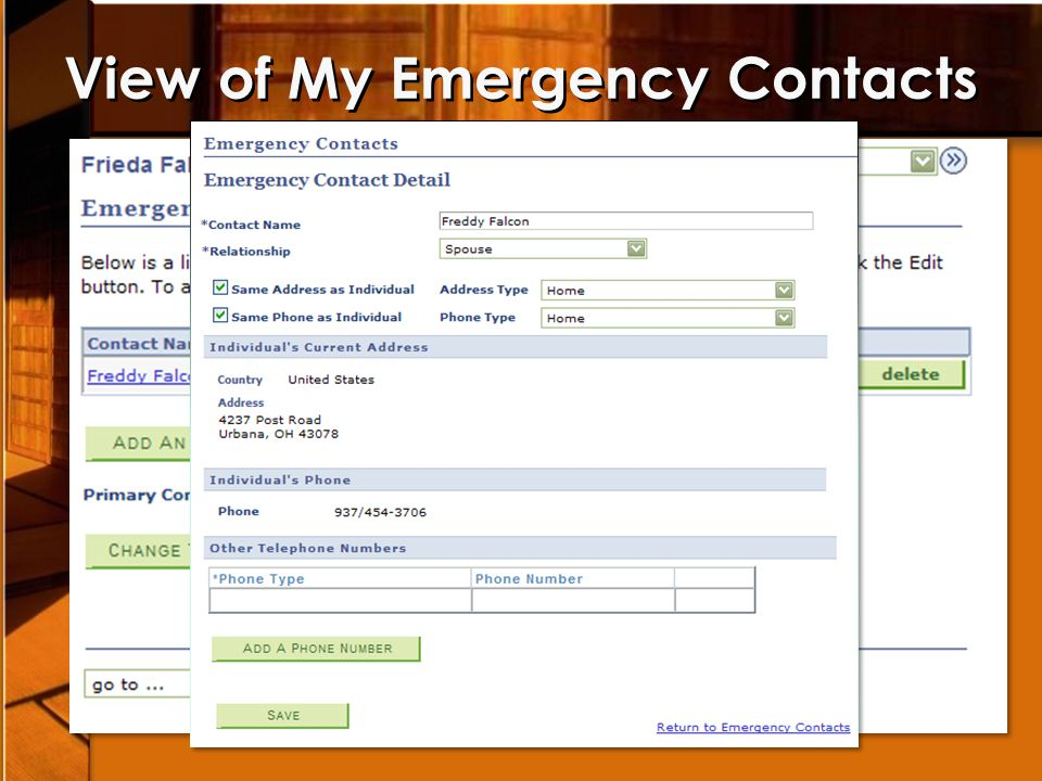 View of My Emergency Contacts
