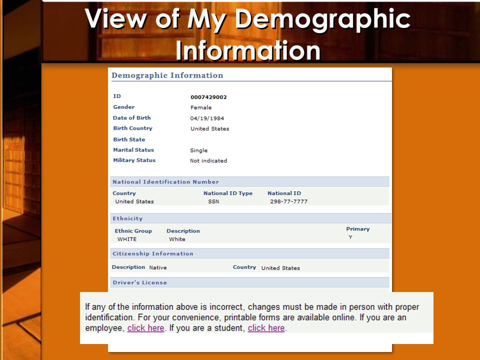 View of My Demographic Information