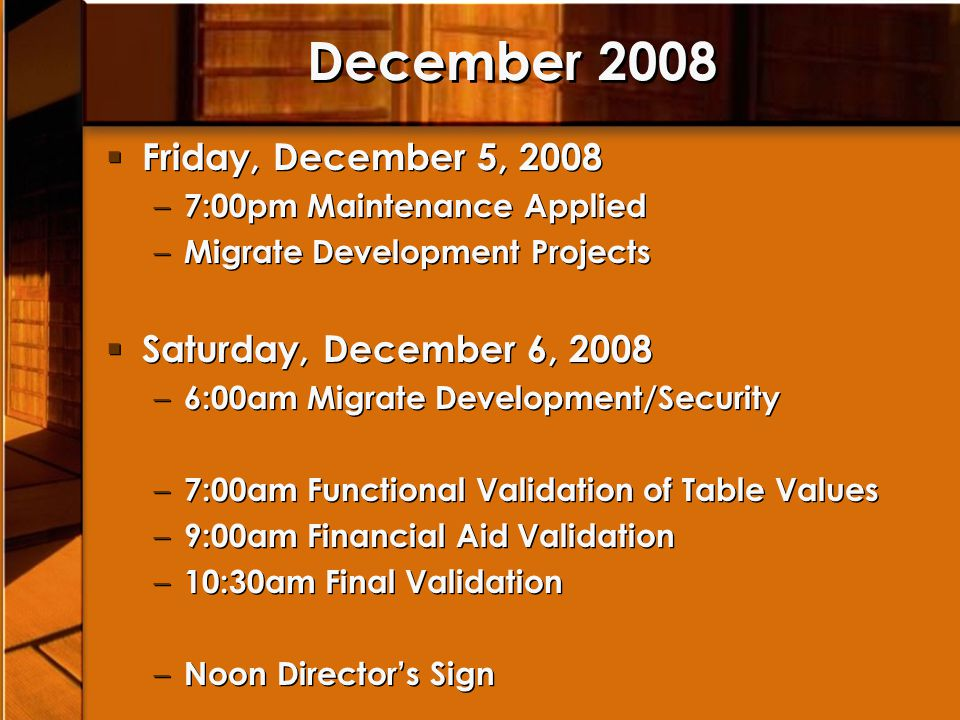 December 2008 Friday, December 5, 2008 Saturday, December 6, 2008