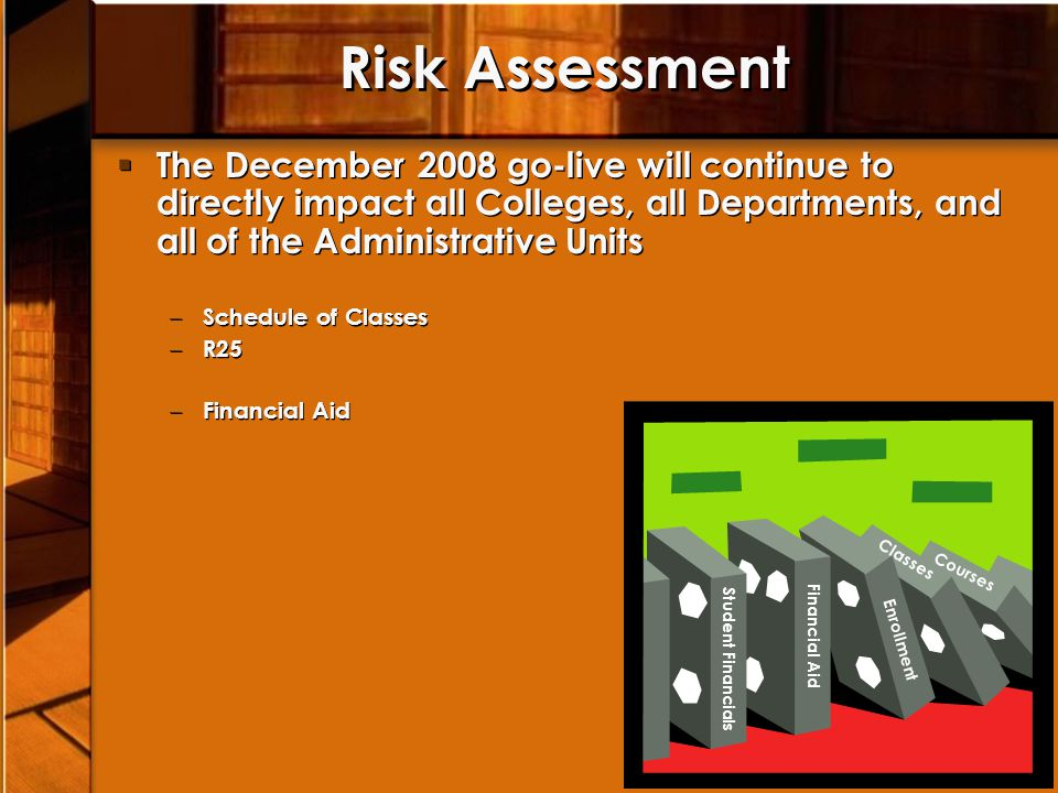 Risk Assessment The December 2008 go-live will continue to directly impact all Colleges, all Departments, and all of the Administrative Units.