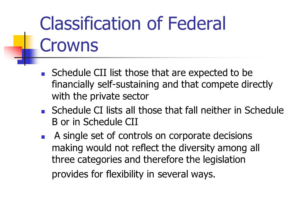 Classification of Federal Crowns